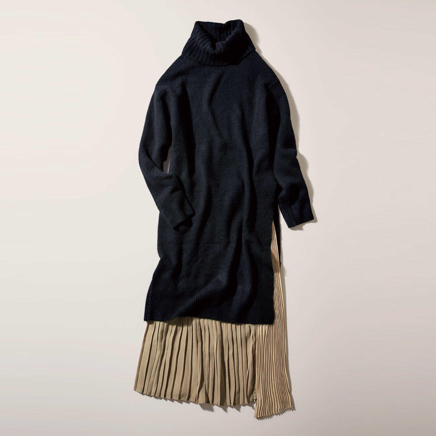 IEDIT[イディット] 小森美穂子さんとコラボ 旬のロング&ロングの着こなしに簡単チャレンジ タートルロングニットと異素材プリーツスカートのコーデセット〈ブラック〉
