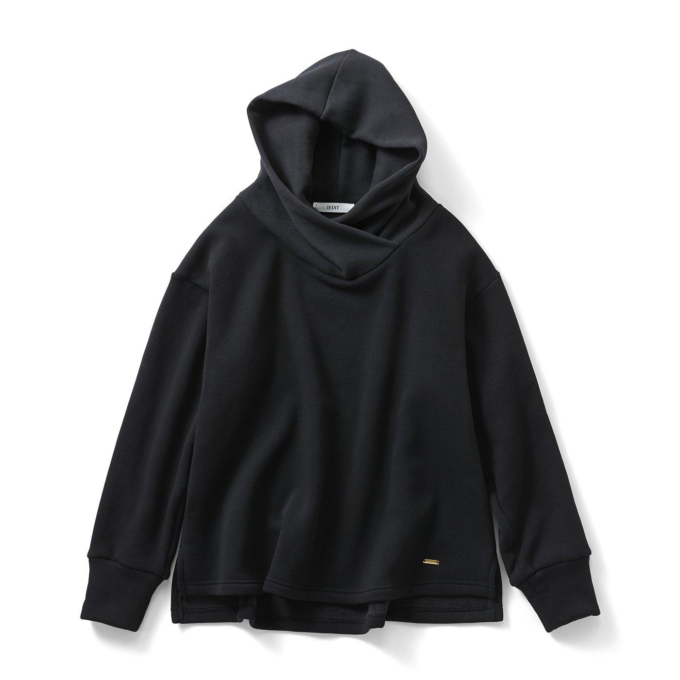 IEDIT[イディット] 裏シャギー素材が暖かい 衿高フードの小顔見えパーカー〈ブラック〉
