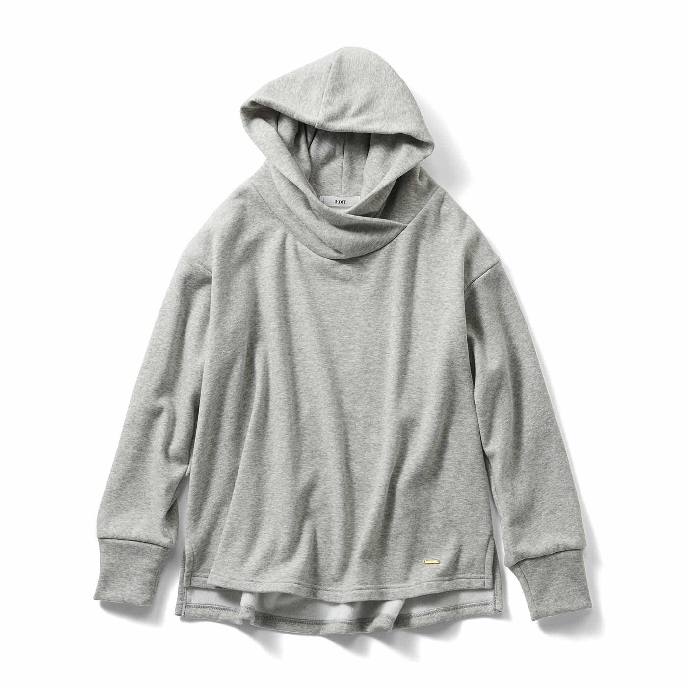 IEDIT[イディット] 裏シャギー素材が暖かい 衿高フードの小顔見えパーカー〈杢(もく)グレー〉