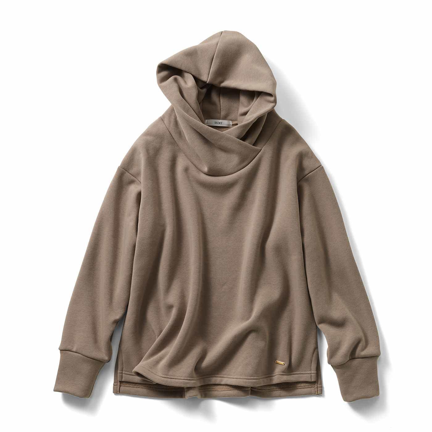 IEDIT[イディット] 裏シャギー素材が暖かい 衿高フードの小顔見えパーカー〈ピンクベージュ〉