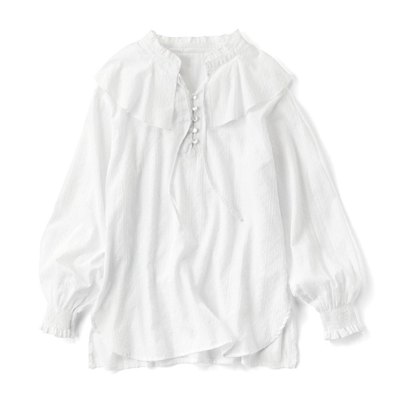 リブ イン コンフォート はまじとコラボ 大人が素敵に着られる衿付きブラウス〈ホワイト〉