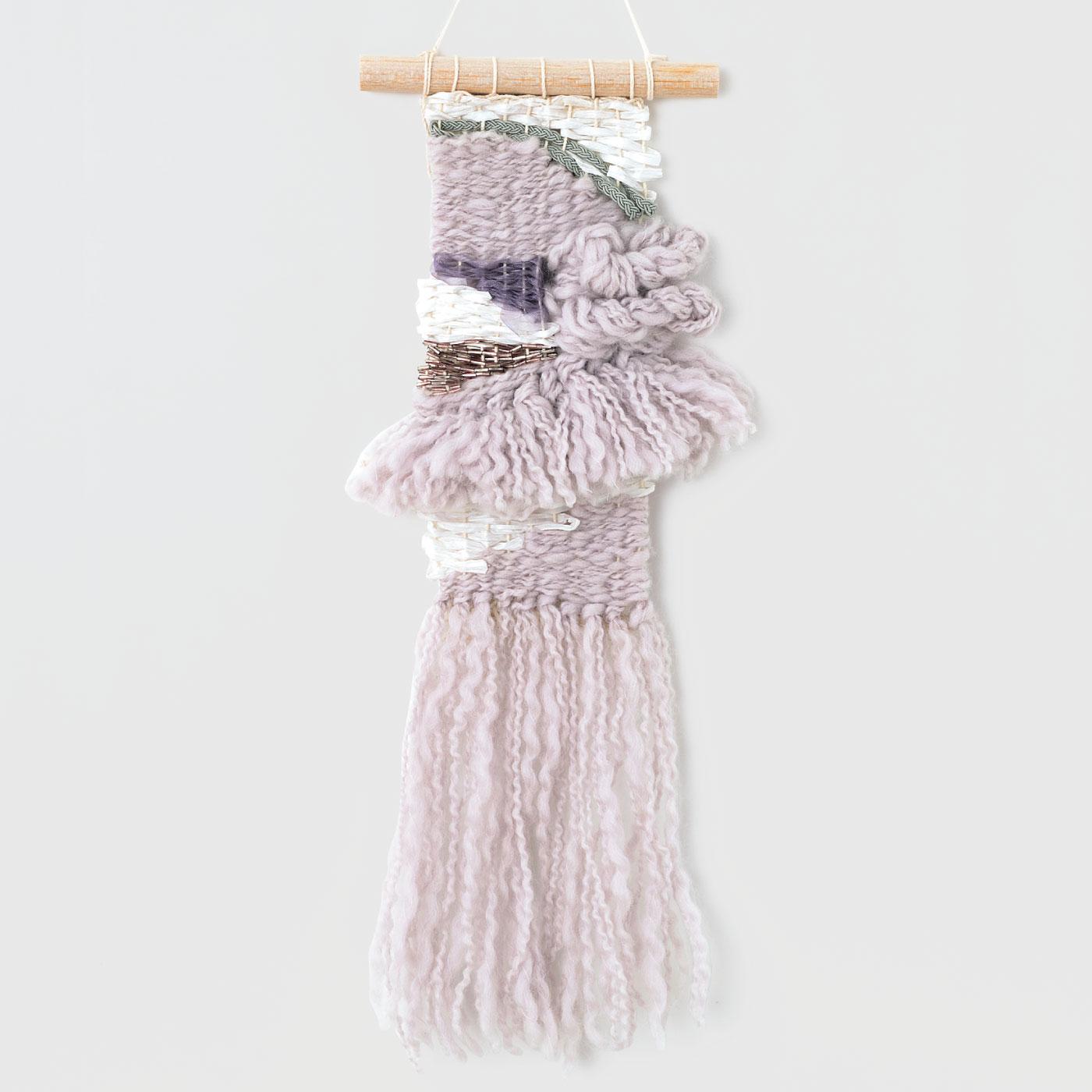 スラブ糸とガラスビーズの織りこみ