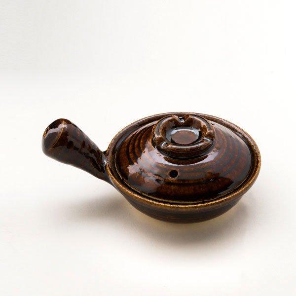 [三重県]めだま焼き用耐熱陶器鍋(ふた付・伊賀焼・茶アメ)