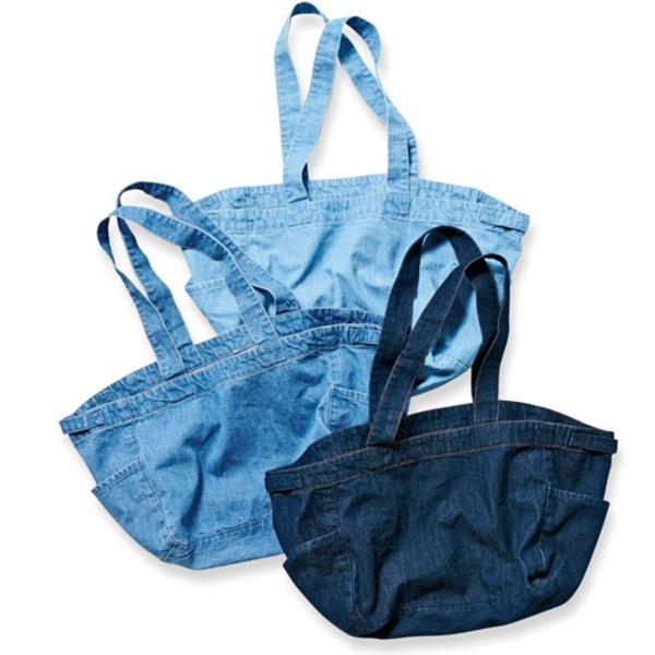 古着屋さんで見つけたような くたくたデニムのまち広バッグ
