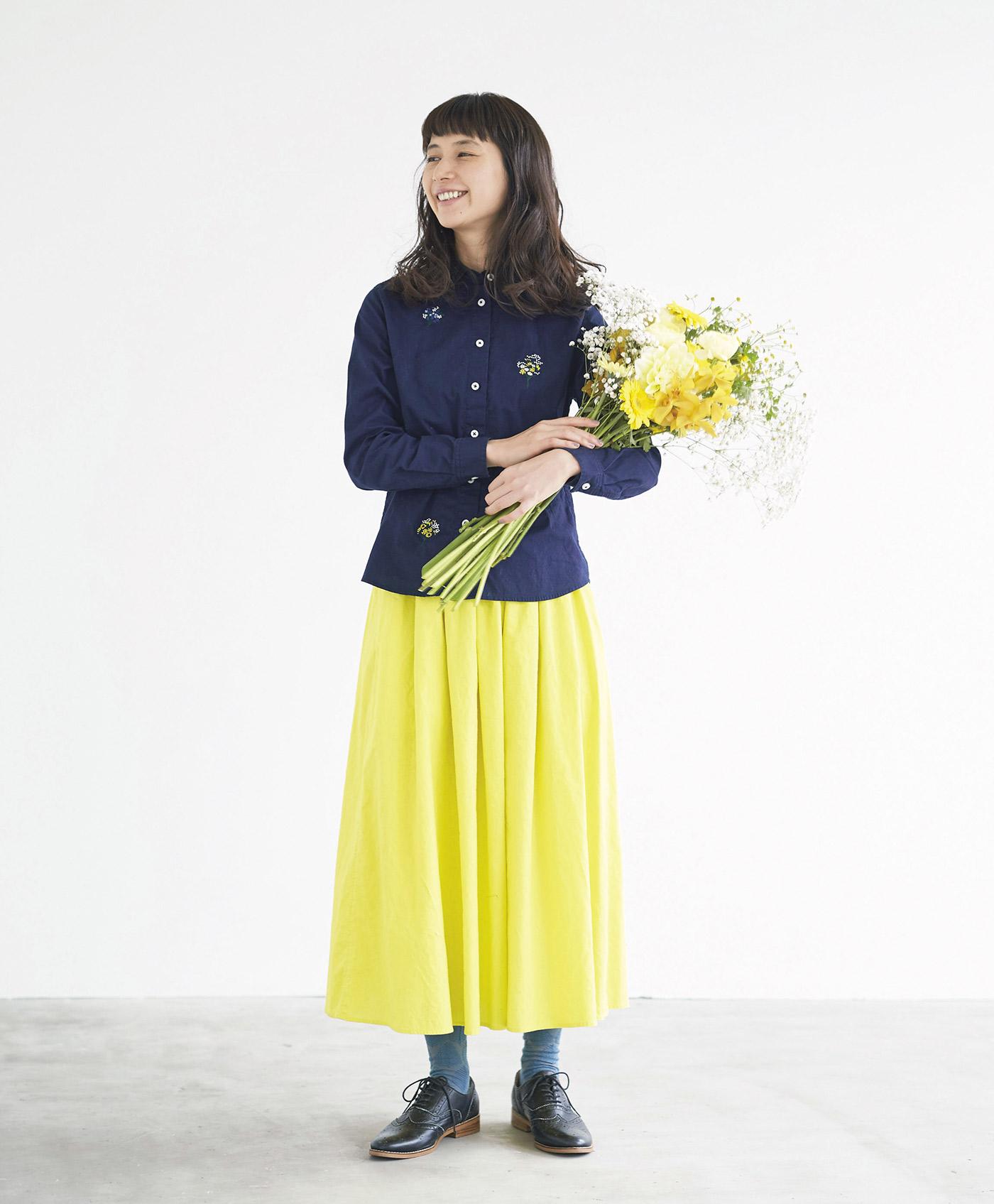 サニークラウズ ミモザ色のスカート<レディース>