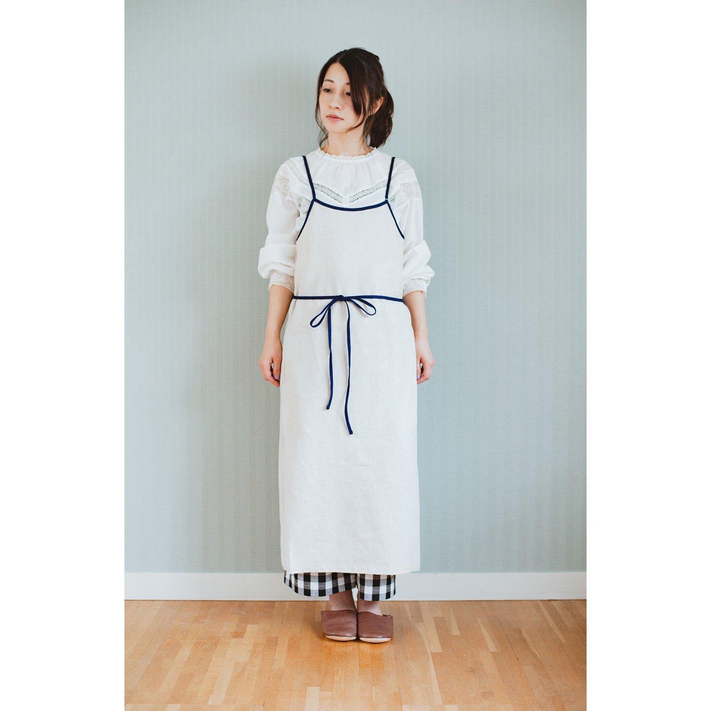 [京都府]Camisole Dress Apron natural,navy