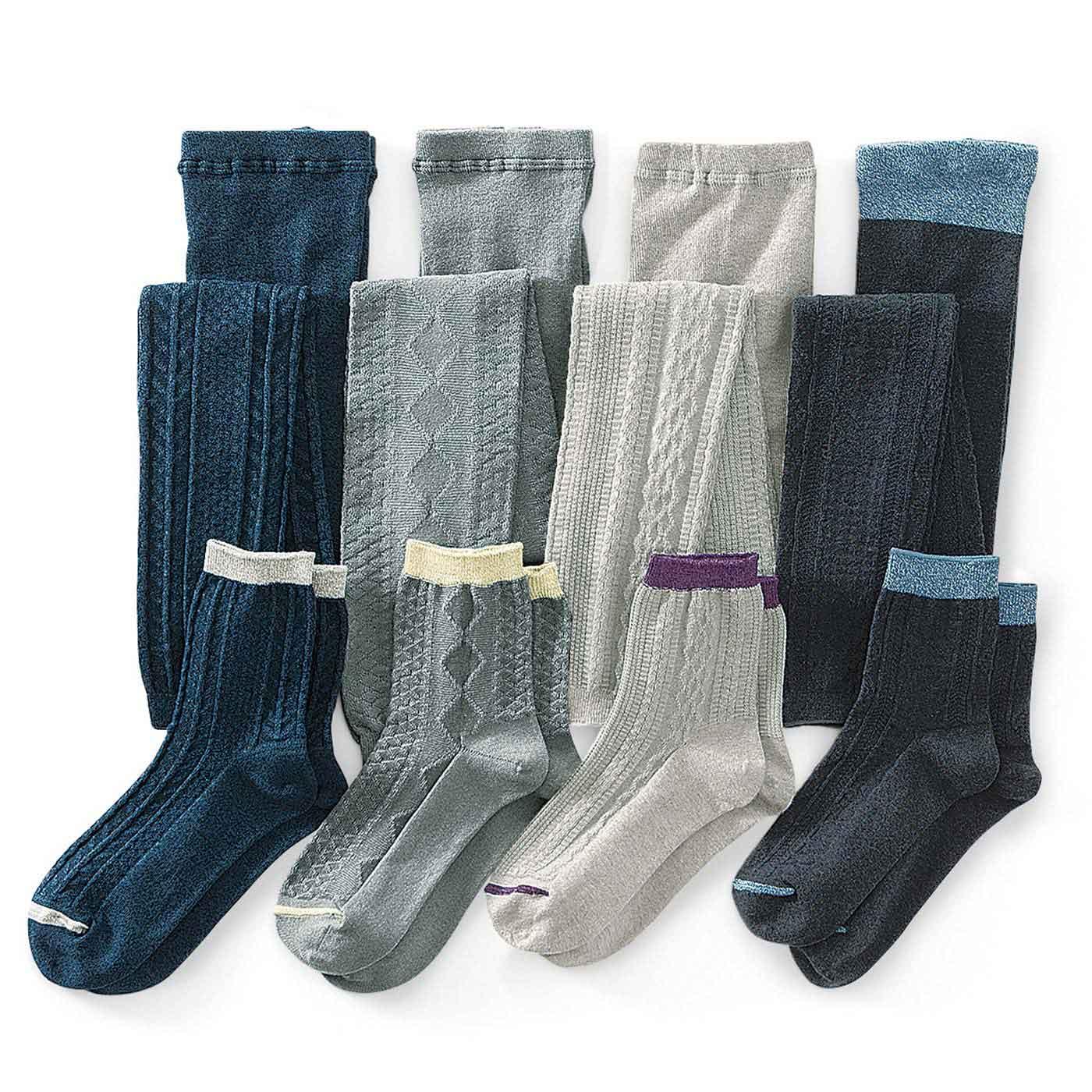 落ち着いた色味と、さりげなくアクセントになる編み模様。色ごとに模様を変えて届けします。