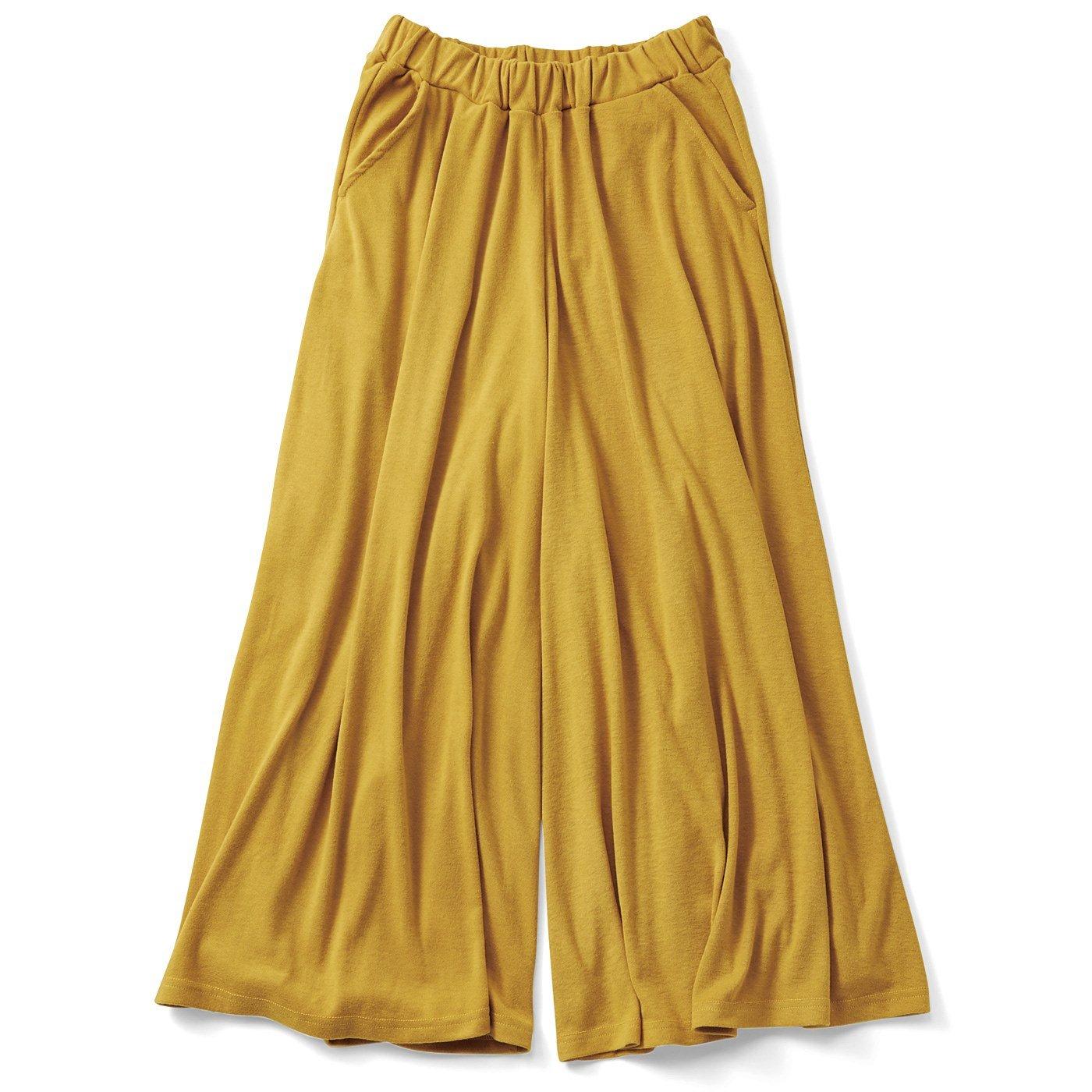リブ イン コンフォート スカート気分の微起毛やわらかカットソーガウチョ〈マスタード〉