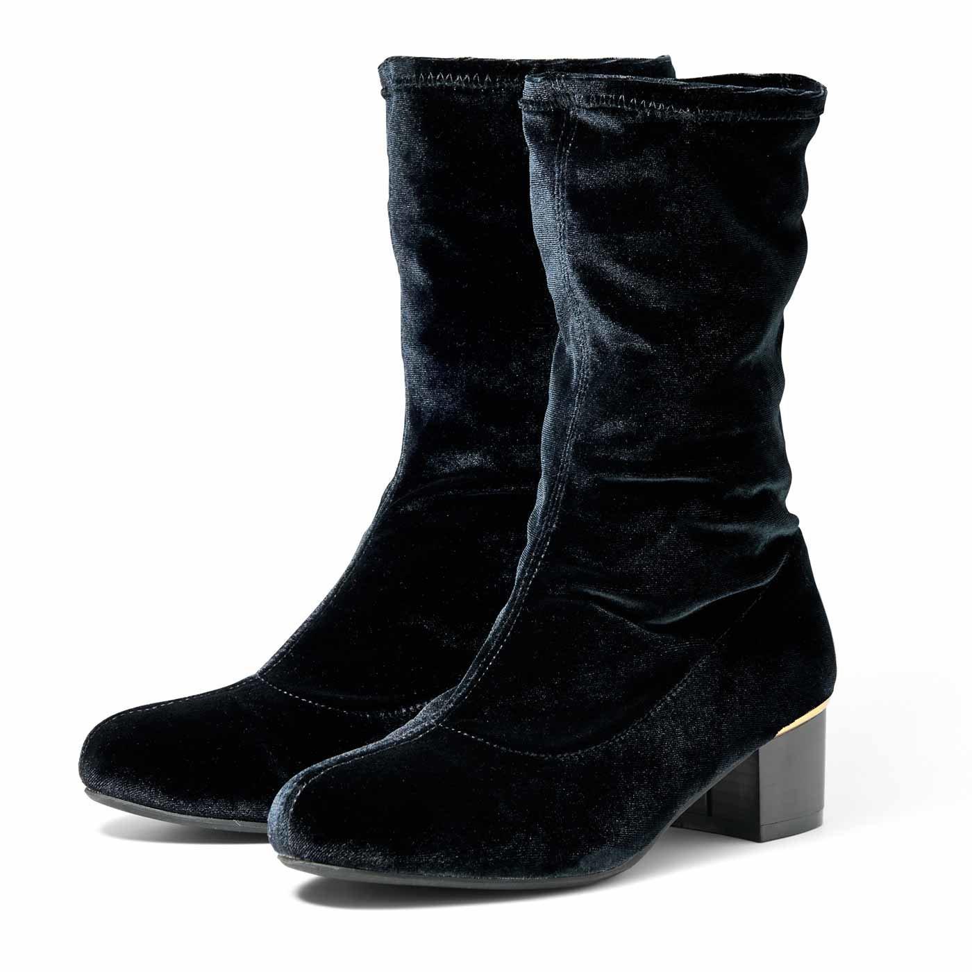 リブ イン コンフォート 靴下みたいにシュッと履けてらくちんな 上品ベロアブーツ〈ブラック〉