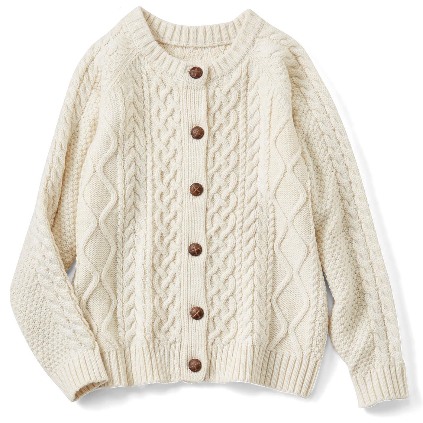 フェリシモ リブ イン コンフォート ふっくらもこもこ編み地がかわいい フィッシャーマン風ニットカーディガン〈オフホワイト〉
