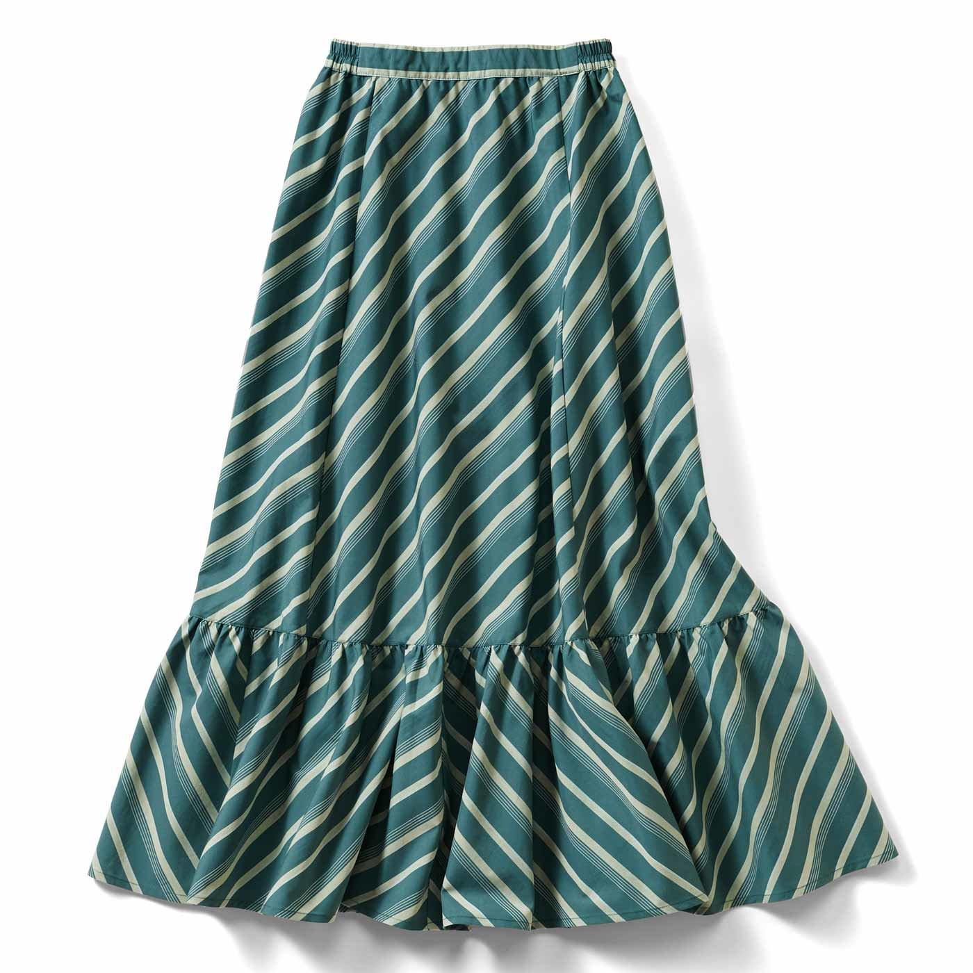 IEDIT[イディット] ストライプ柄切り替えスカート〈グリーン〉
