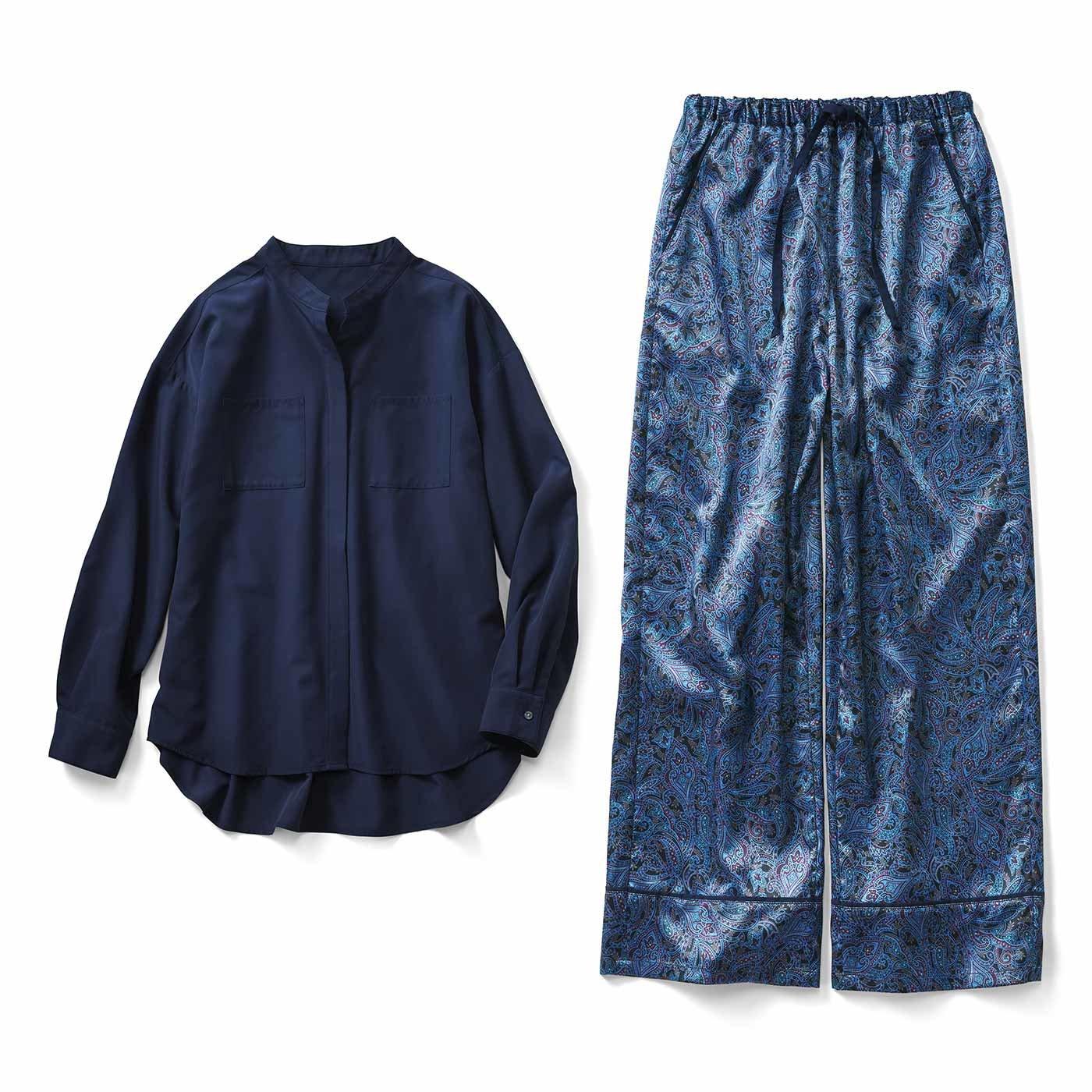 IEDIT[イディット]  小森美穂子さんコラボ とろみブラウスとこだわりシック柄パンツのコーディネイトセット〈ネイビー〉