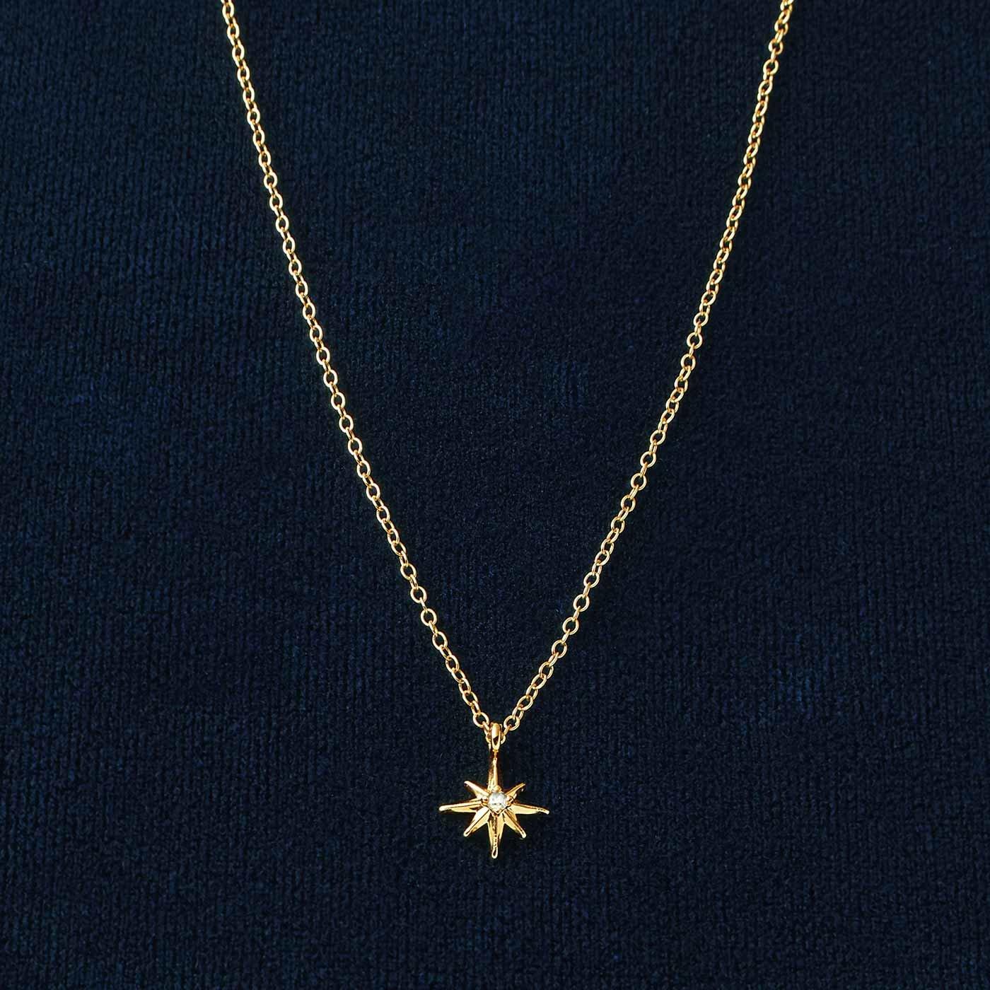 IEDIT[イディット] スターモチーフ一粒ダイアモンドネックレス〈ゴールド〉