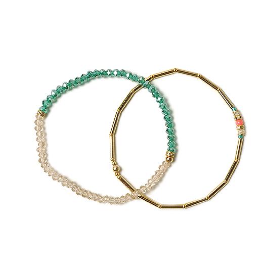 フェリシモ ガラスビーズが手もとを美しく彩る 重ねて楽しむ 大人のための二連ブレスレットの会【定期便】