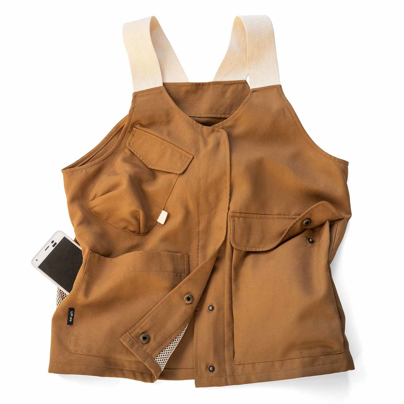 UP.de 着られるバッグで身軽にお出かけ マルチポケットベスト〈キャメル〉