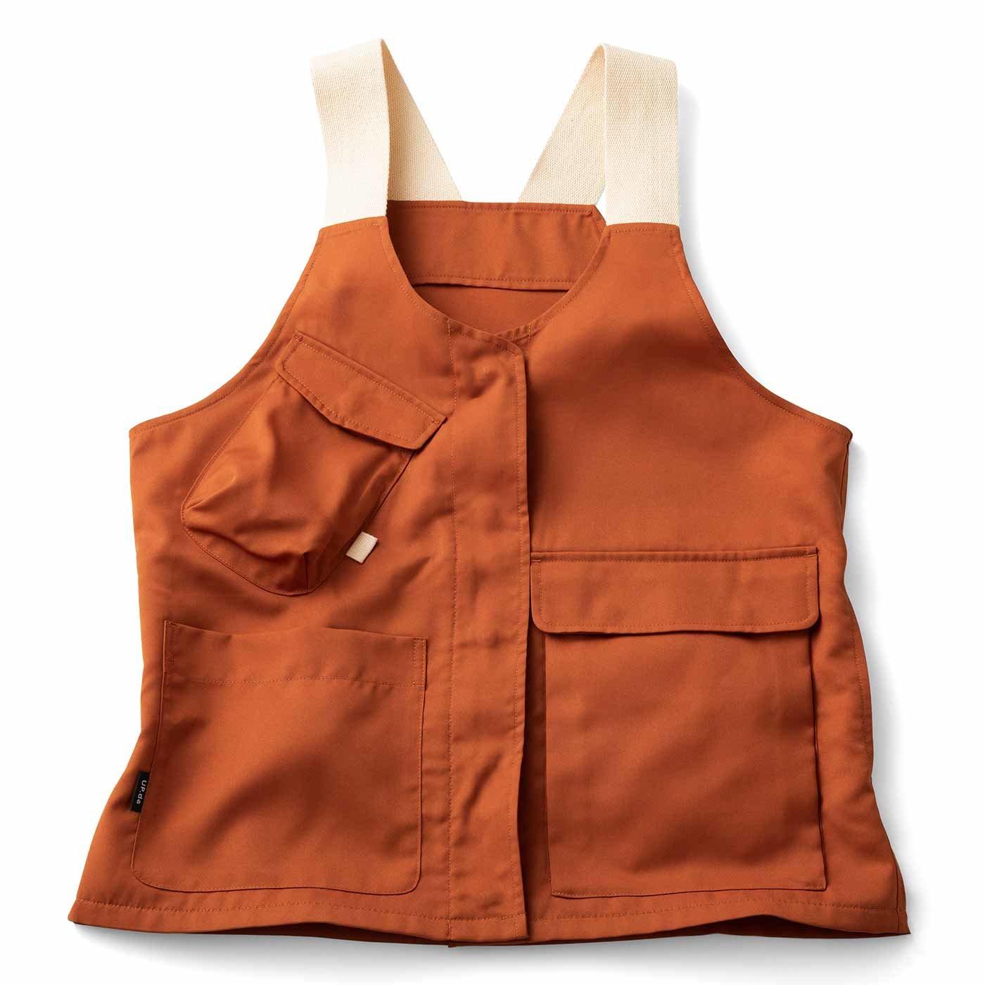 UP.de 着られるバッグで身軽にお出かけ マルチポケットベスト〈オレンジ〉