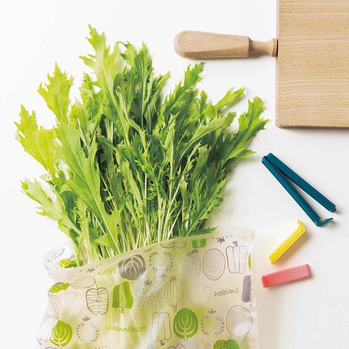 大きな野菜もまるっと保存 米ぬかからできた底まち付き抗菌・鮮度保持バッグ