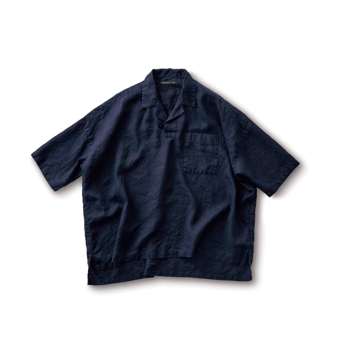 サニークラウズ かぶり開衿シャツ〈メンズ〉紺