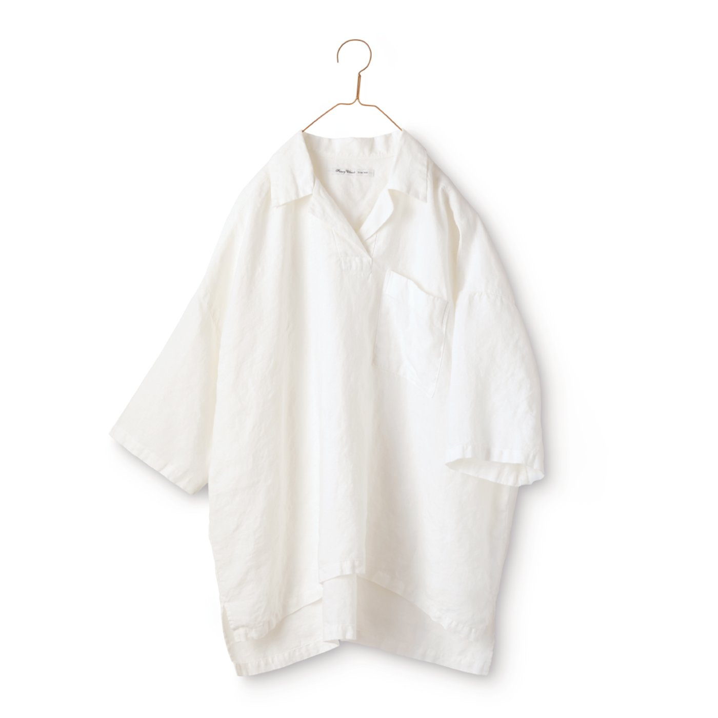 サニークラウズ かぶり開衿シャツ〈レディース〉白