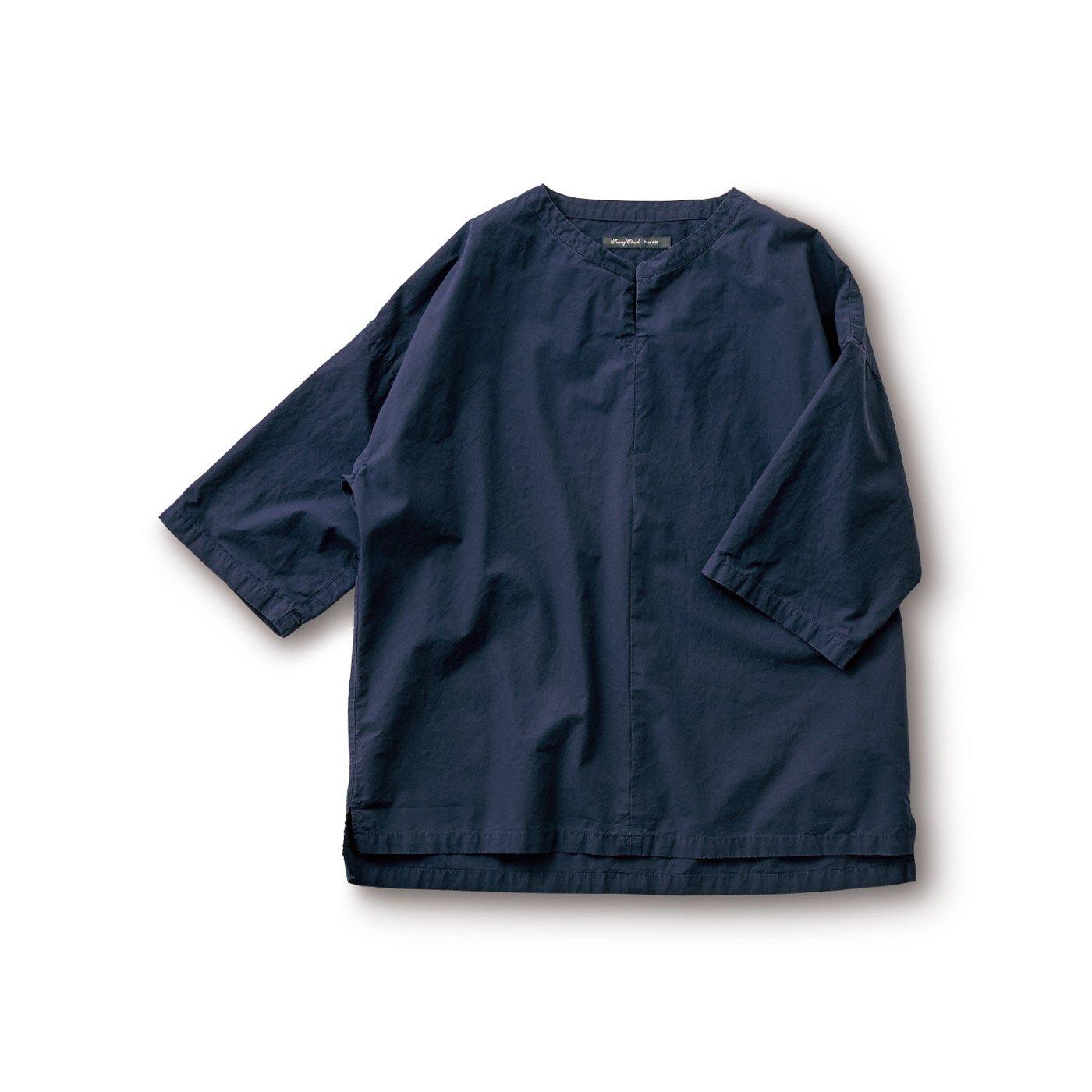 サニークラウズ 切れ込みシャツ〈メンズ〉紺
