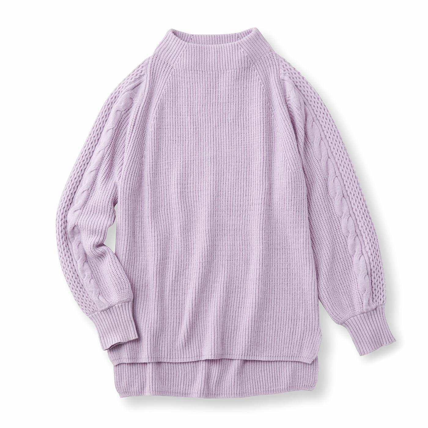 フラウグラット 編み柄ですっきり見え やさしいカラーのふわもっちり ぷっくり袖ニットの会