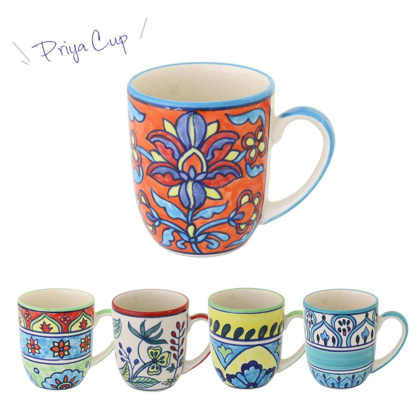 クラフト感がいい感じ インドの伝統柄ペイント プリヤ マグカップ
