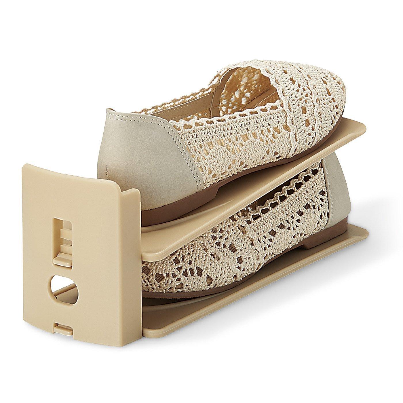 3段階に高さ調節ができる靴ホルダー〈ベージュ3足セット〉の会