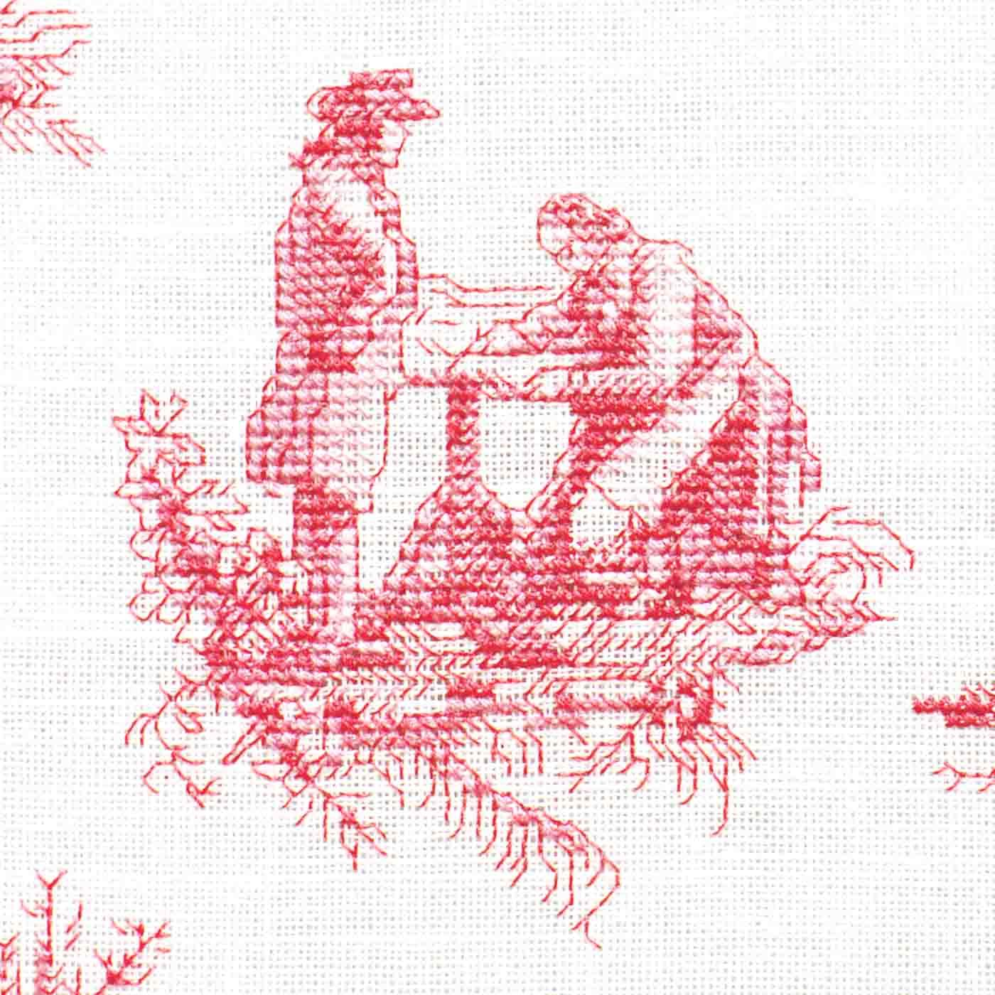 布に刺しゅうした作品例です。(※布は本商品に付属しません。)