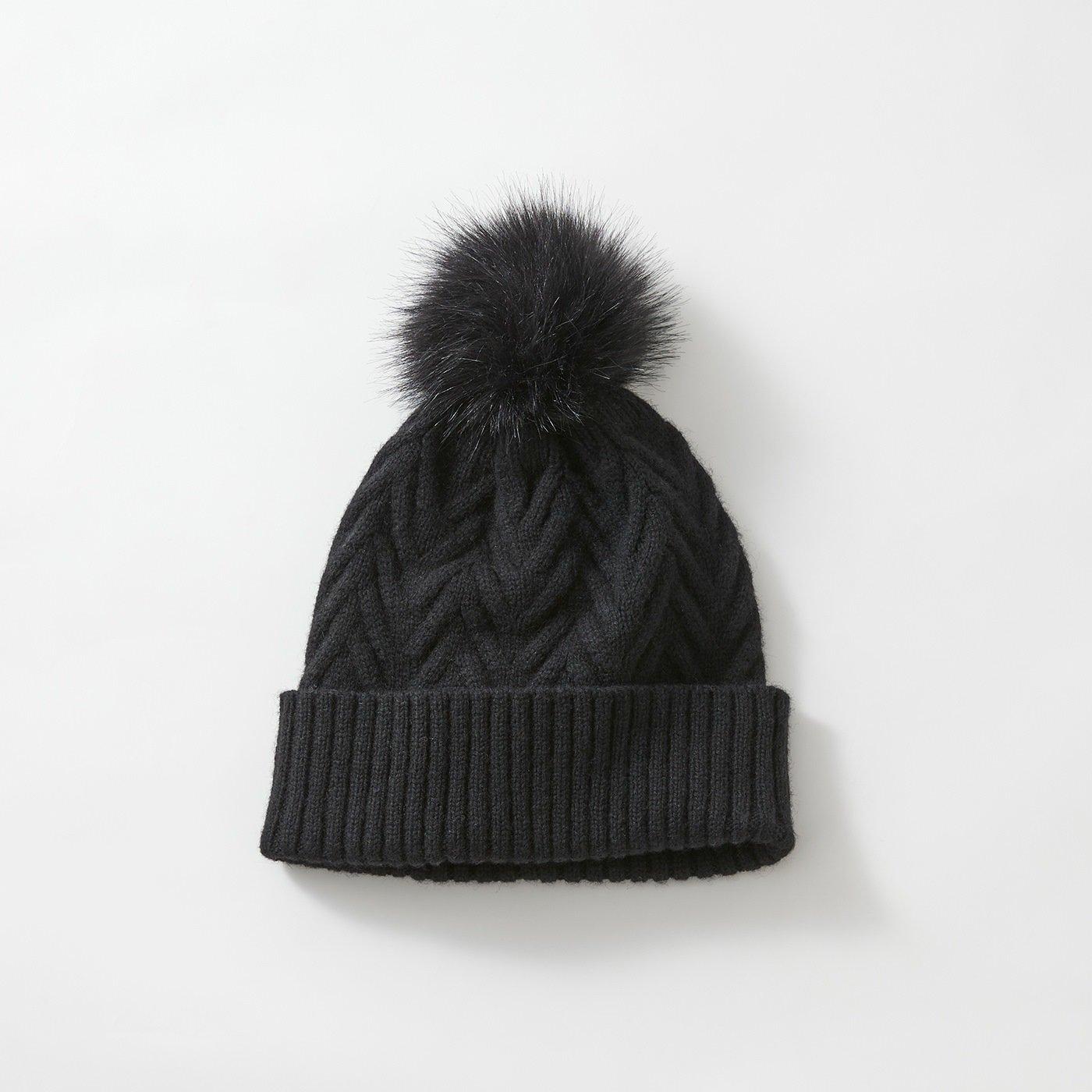 odds ポンポンニット帽〈黒〉