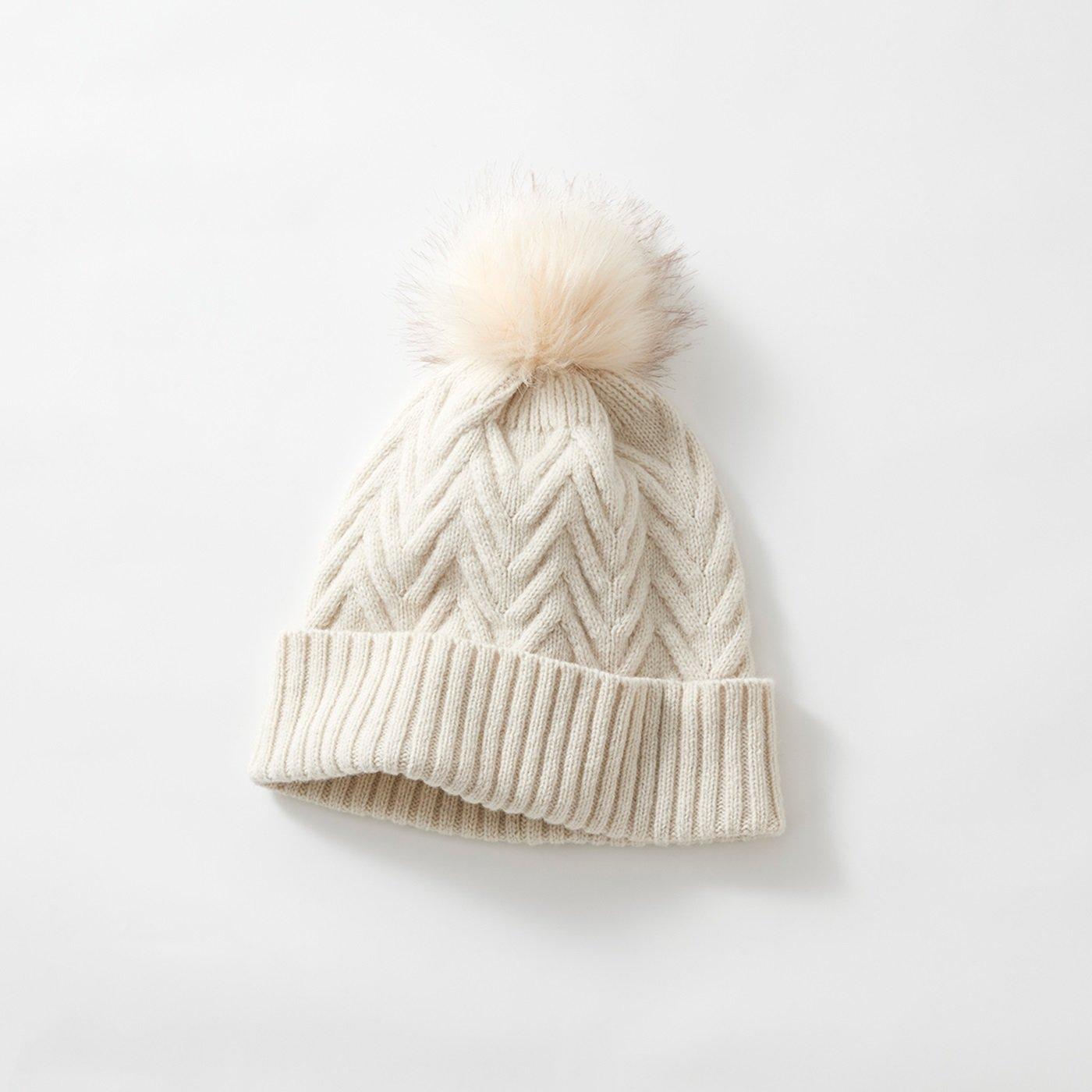 odds ポンポンニット帽〈白〉