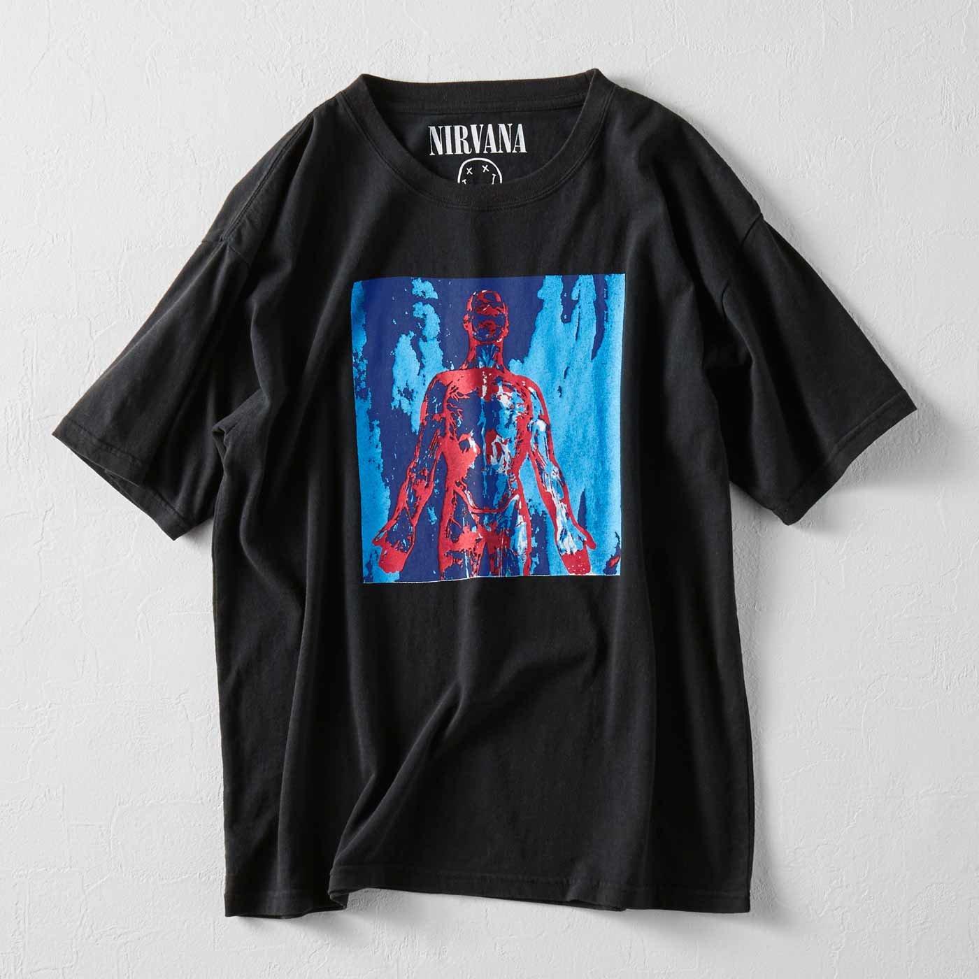 MEDE19F ヴィンテージ加工 NIRVANA Tシャツ〈ブラック〉