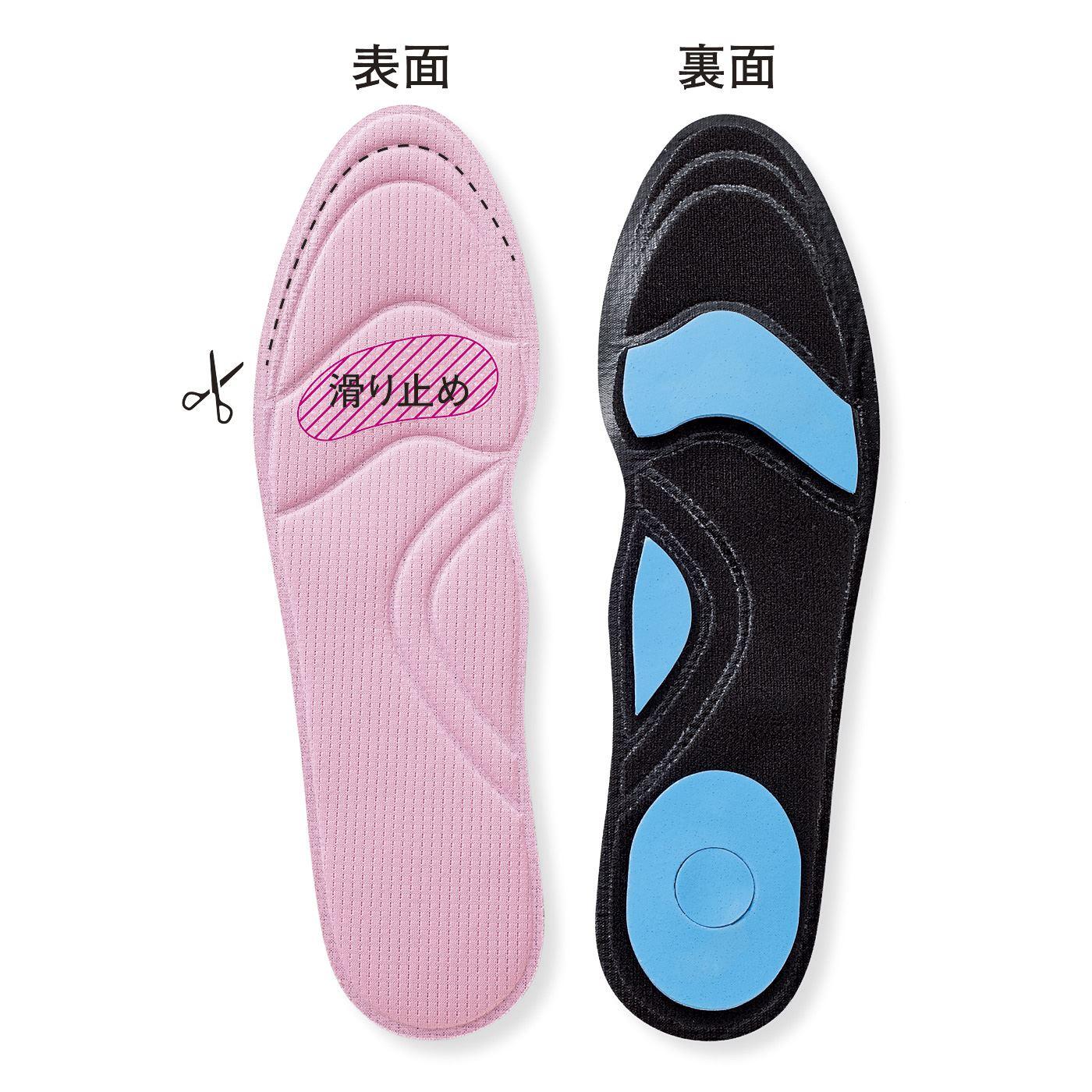 足の負担軽減:体重が掛かるつま先とかかとの衝撃を緩和。土踏まずのクッションでアーチを支えます。