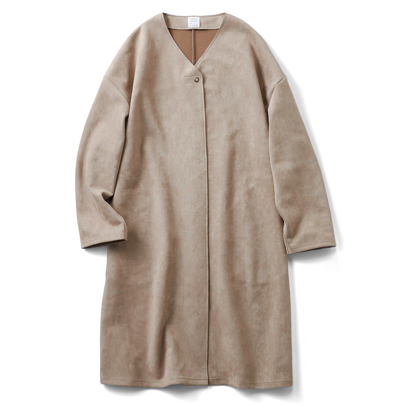 HIROMI YOSHIDA. スエードタッチのノーカラーコート〈モカベージュ〉