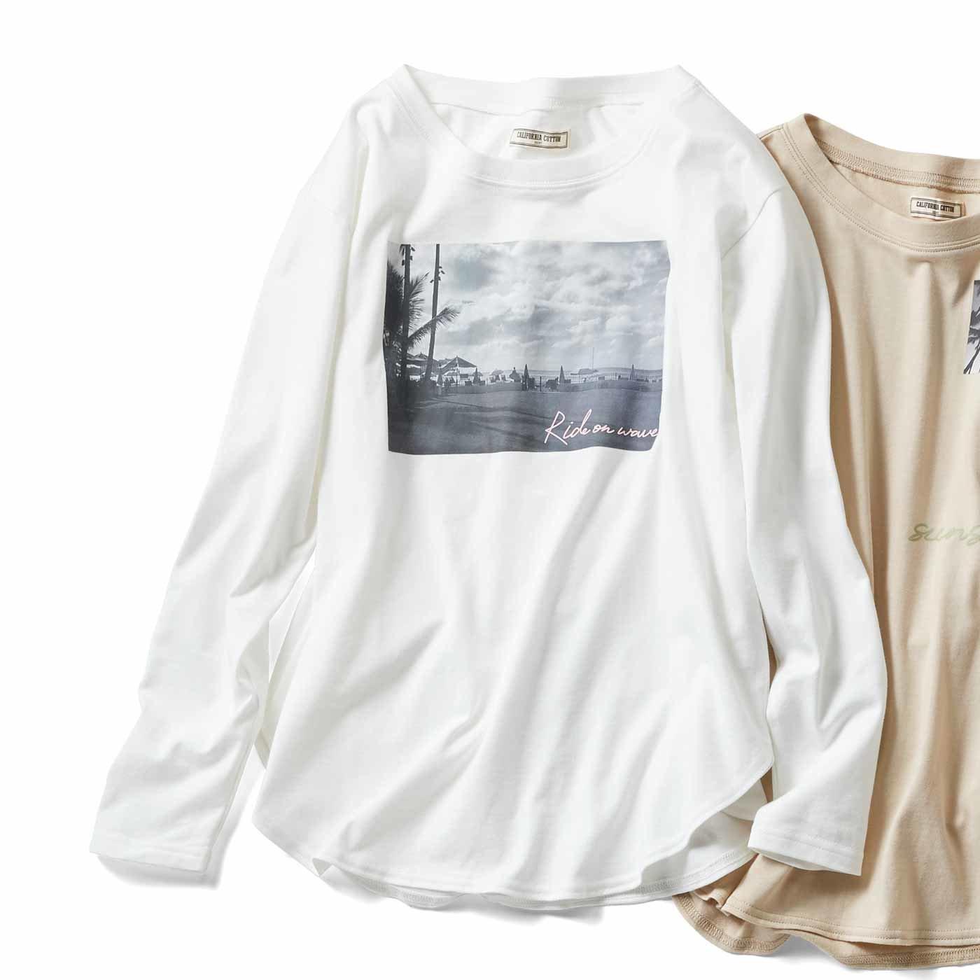 IEDIT[イディット] カリフォルニアコットンのフォトプリントTシャツの会
