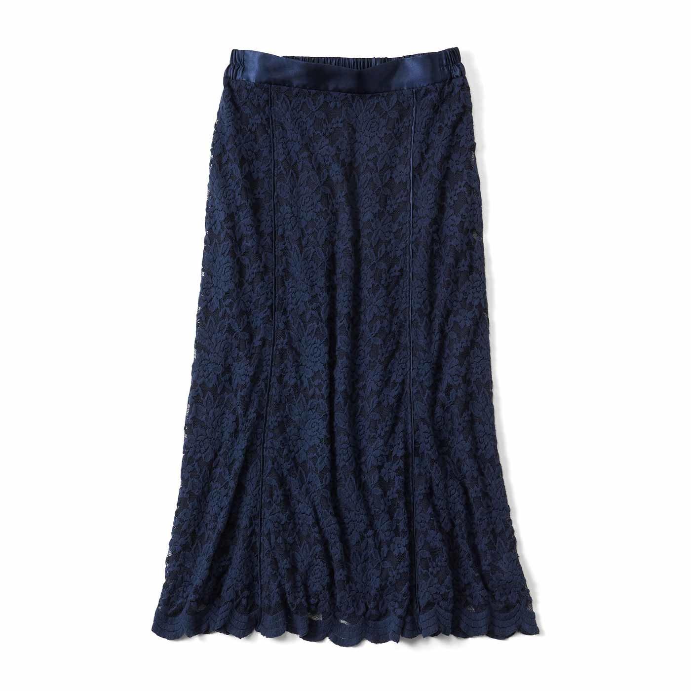IEDIT[イディット] 帯電防止インナーがうれしい 起毛レーススカート〈ネイビー〉