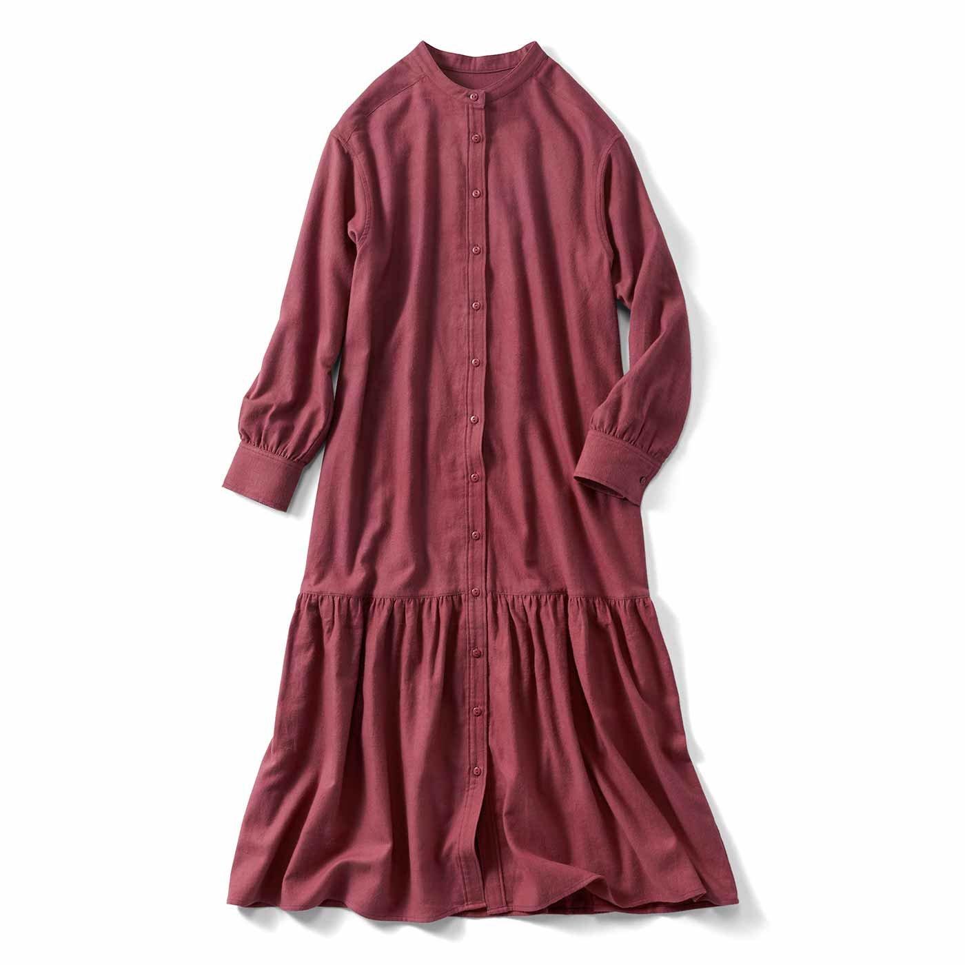 IEDIT[イディット] 夜明けの空のシャツワンピース〈バーガンディーレッド〉