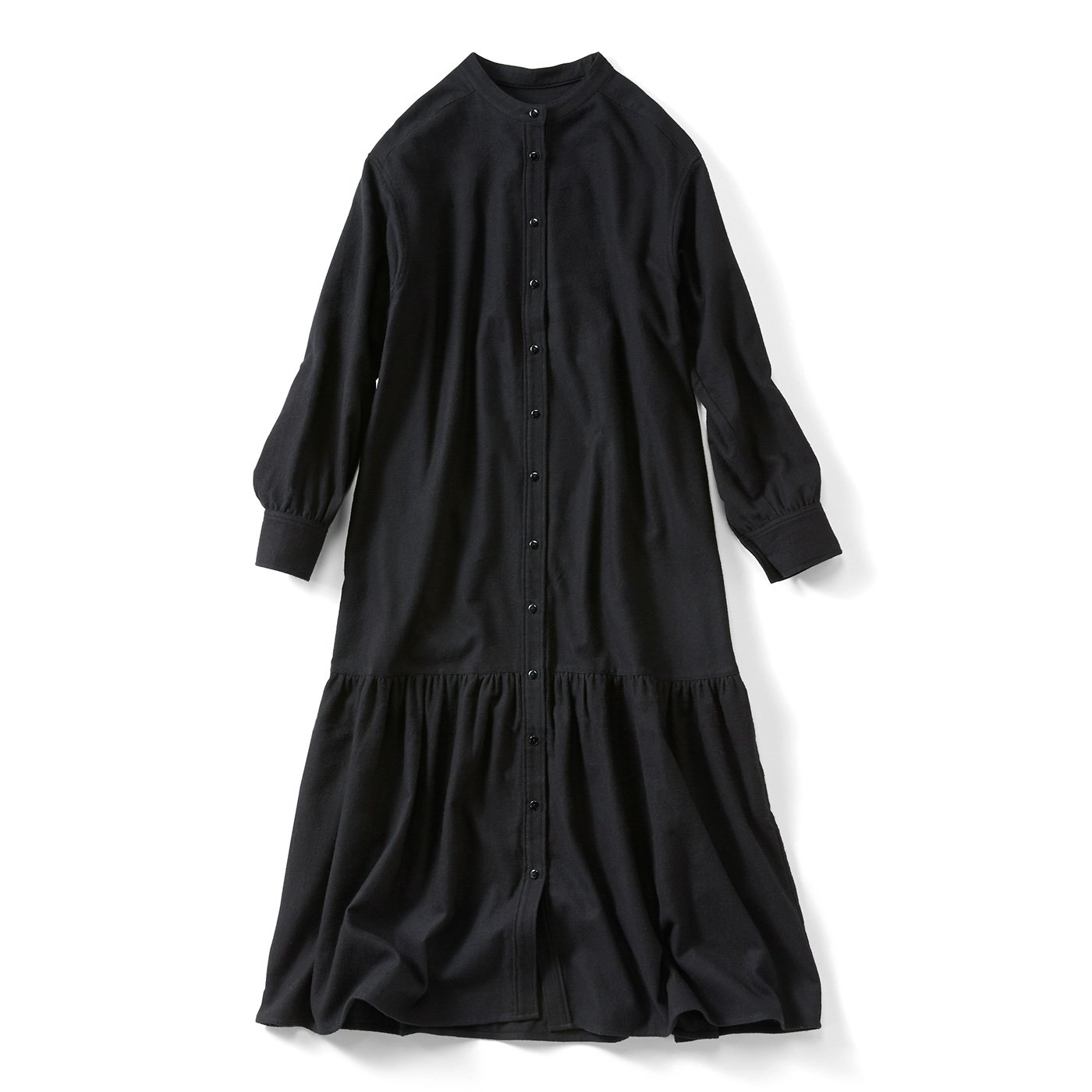 IEDIT[イディット] 夜明けの空のシャツワンピース〈ブラック〉