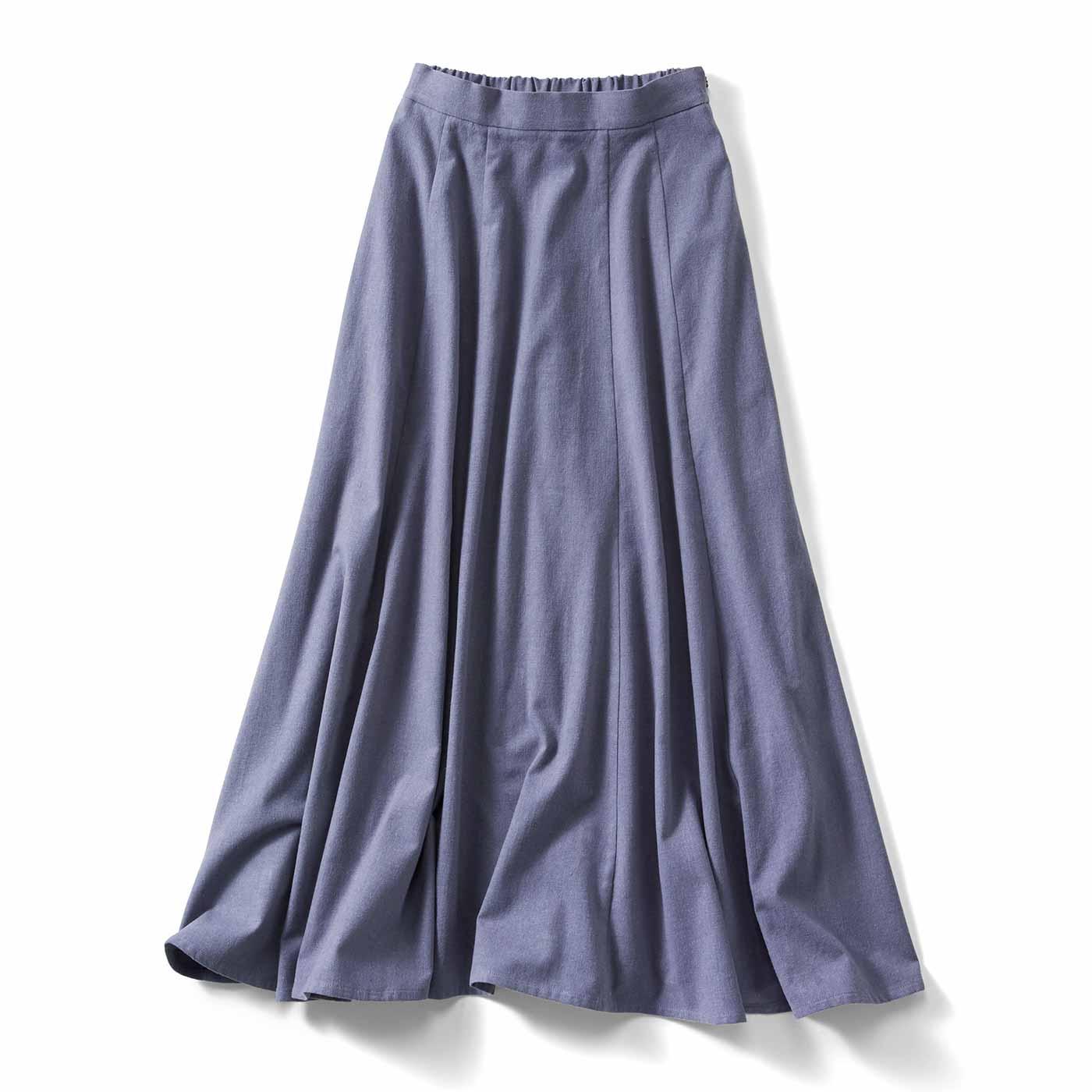 綿麻起毛スカート〈ブルー〉IE