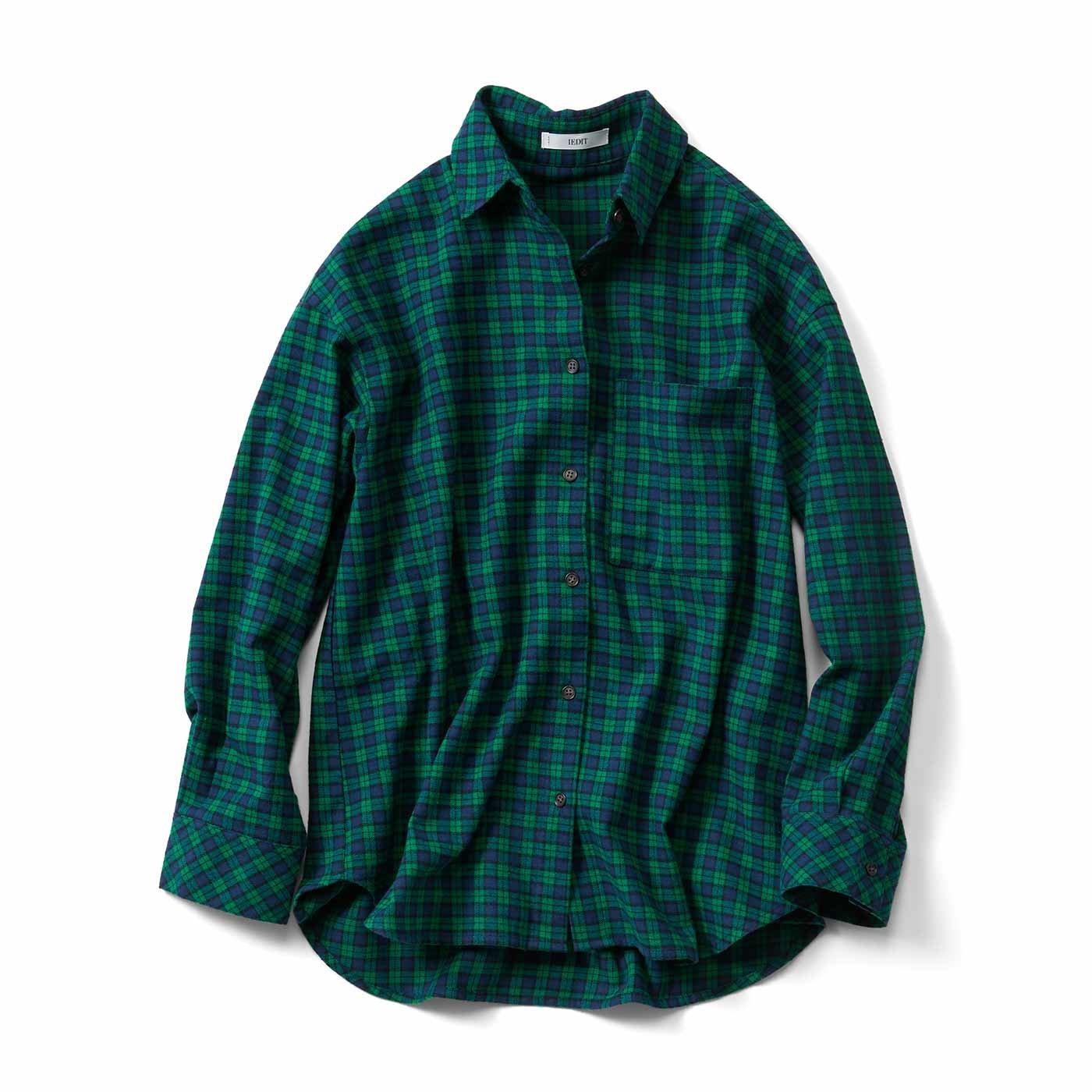 牧野紗弥さん×IEDIT[イディット] メンズライクシルエットのはおりにもなるチェックパターンシャツ〈グリーン〉