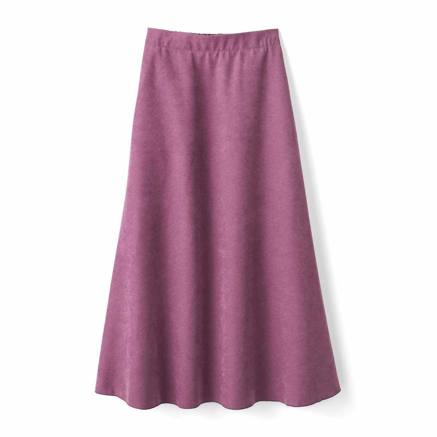 IEDIT[イディット] たっぷりフレアーがドラマティックなロングスカート〈パープル〉