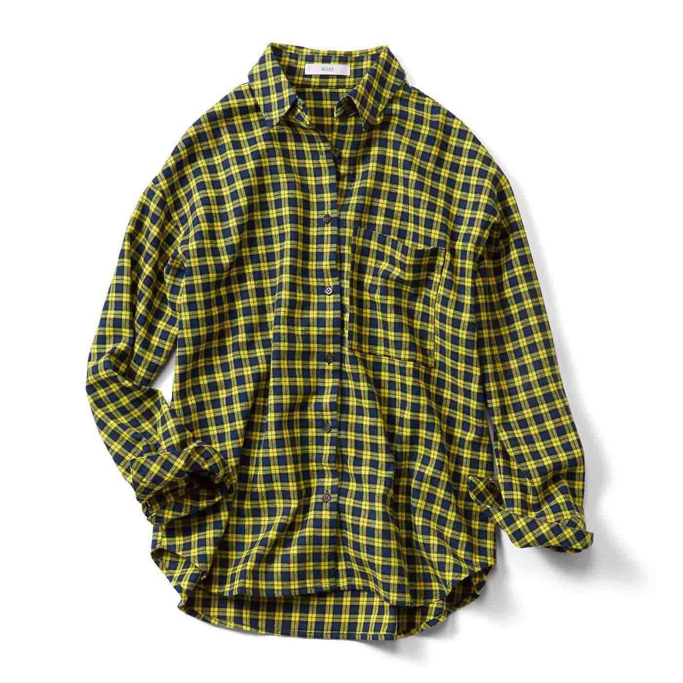 牧野紗弥さん×IEDIT[イディット] メンズライクシルエットのはおりにもなるチェックパターンシャツ〈イエロー〉
