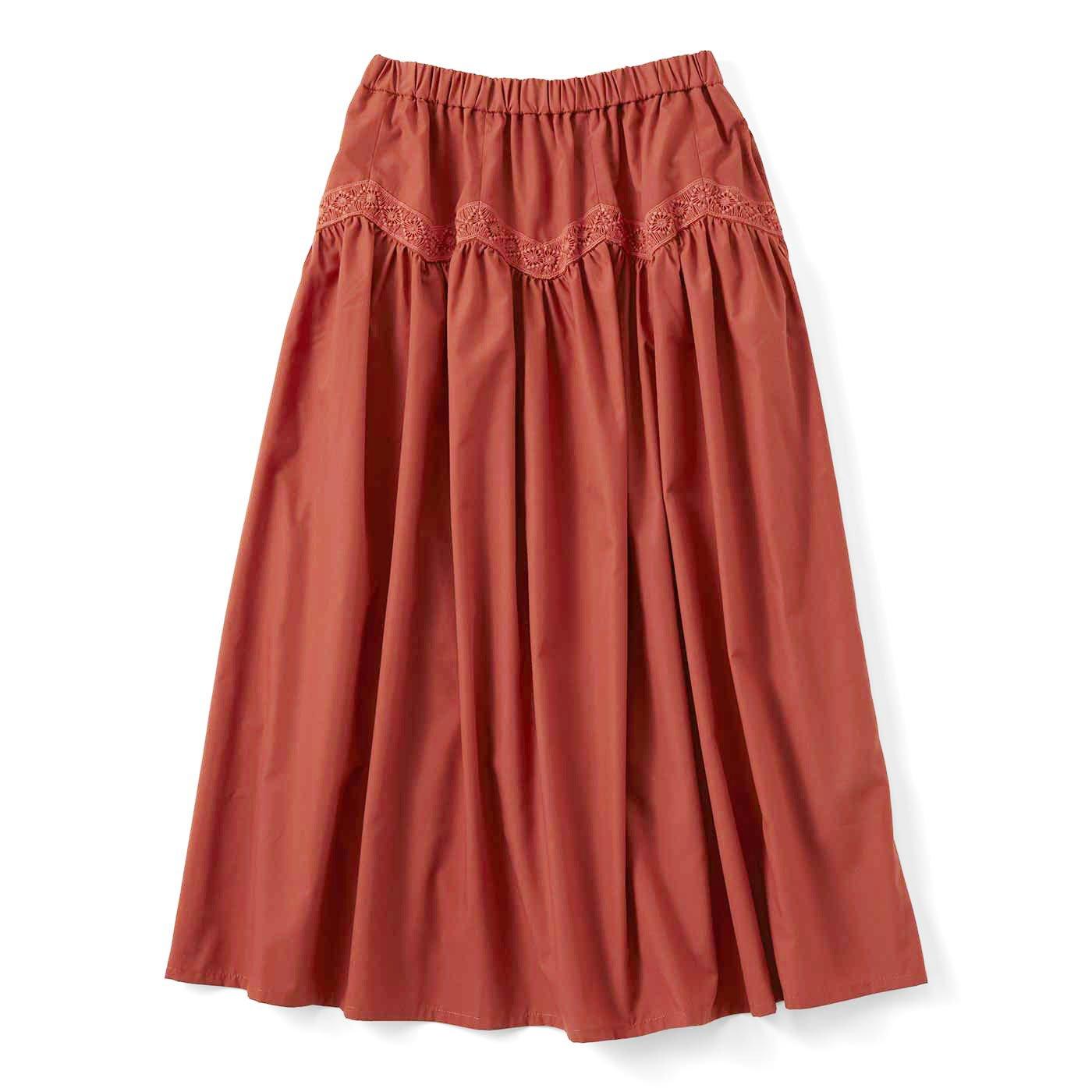 【3~10日でお届け】ジグザグレースのボリュームスカート〈テラコッタブラウン〉
