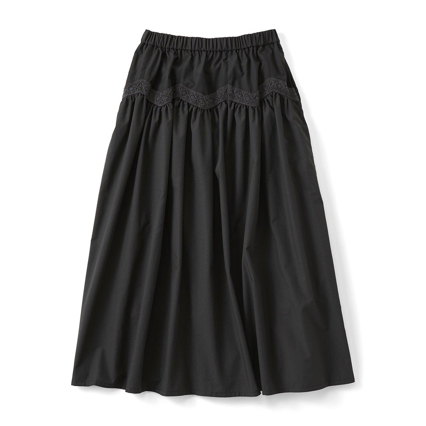 【3~10日でお届け】ジグザグレースのボリュームスカート〈ブラック〉