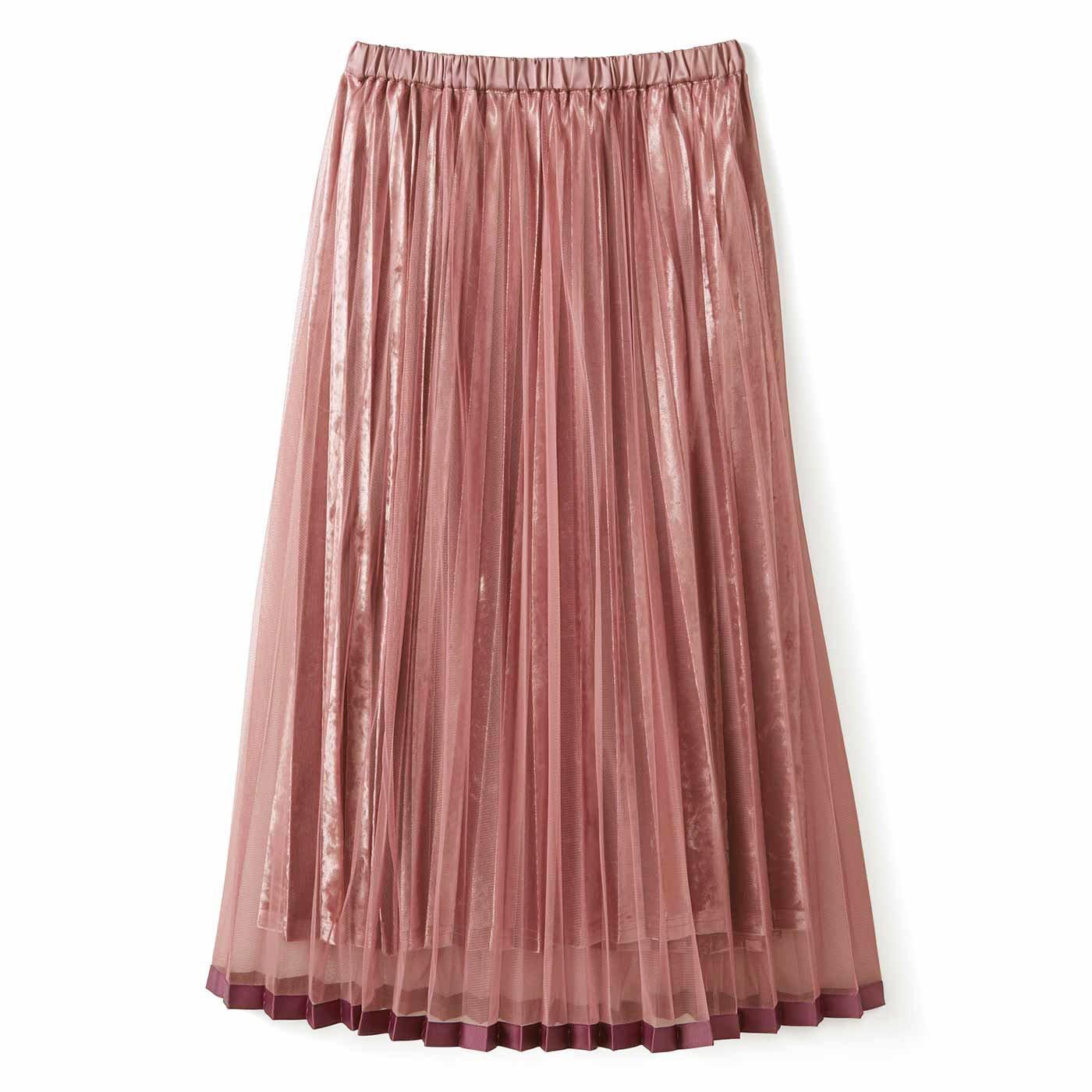 チュールでラッピング♪ベロアスカート〈ダルピンク〉