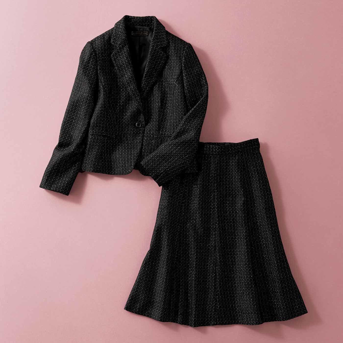 【3~10日でお届け】凛とした華やぎで魅了する 正統派セットアップスーツ〈ブラック〉