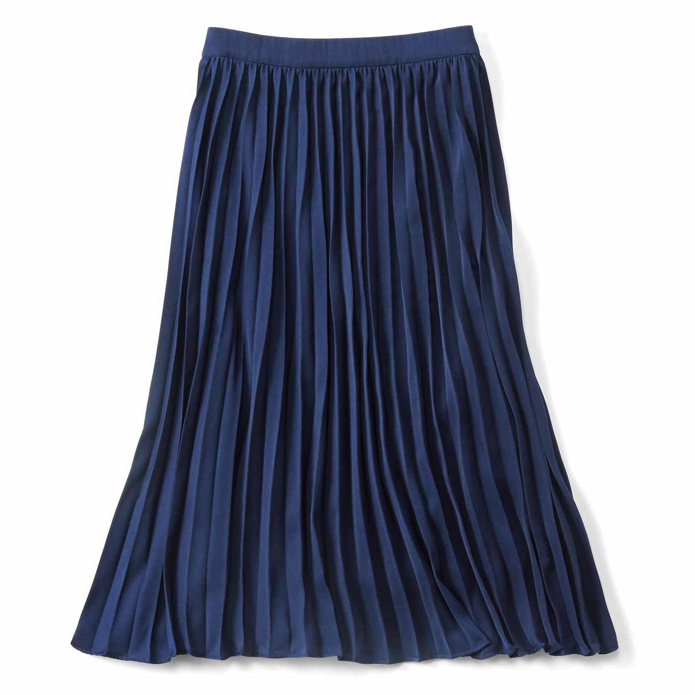 IEDIT[イディット] 軽やかさを演出する 大人のプリーツスカート〈ネイビー〉