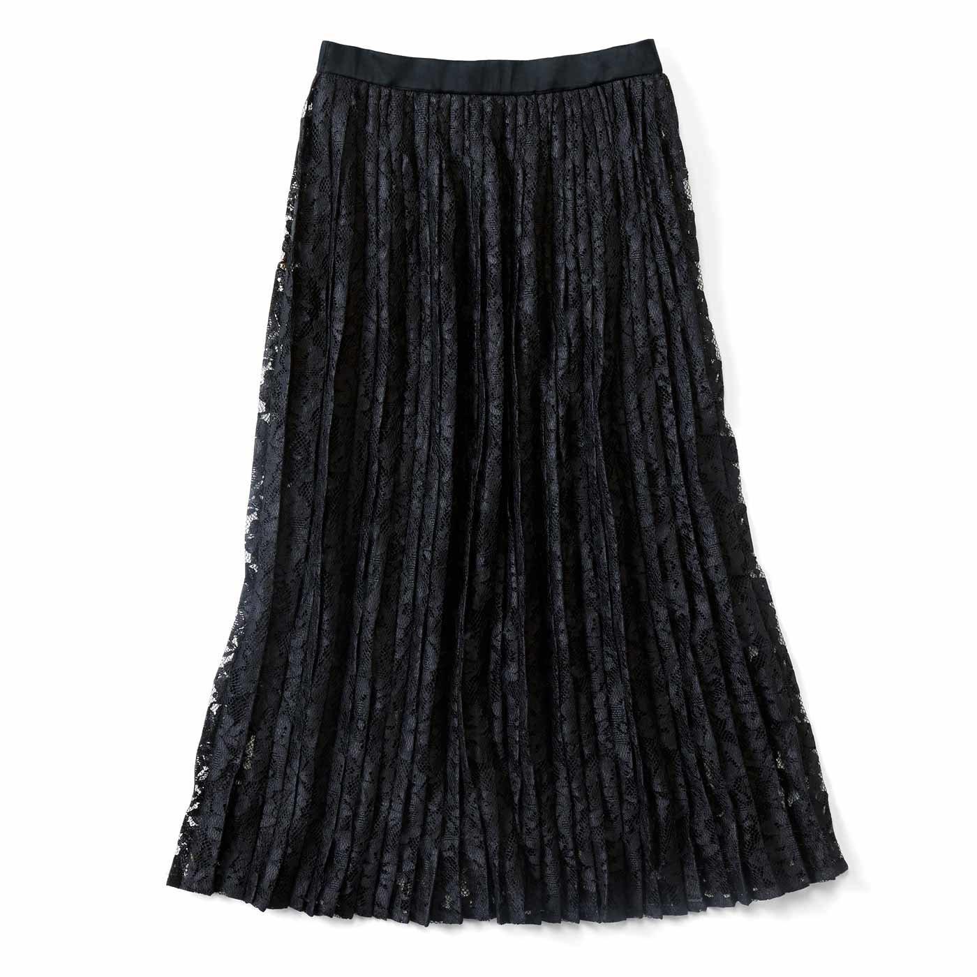IEDIT[イディット] レースをぜいたくに使用した華やぎプリーツスカート〈ブラック〉