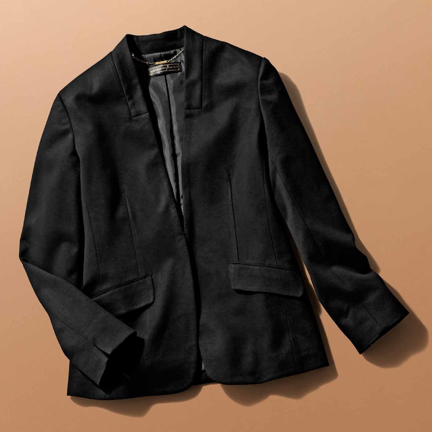 IEDIT 布はく見えカットソー素材の洗練ジャケット〈ブラック〉