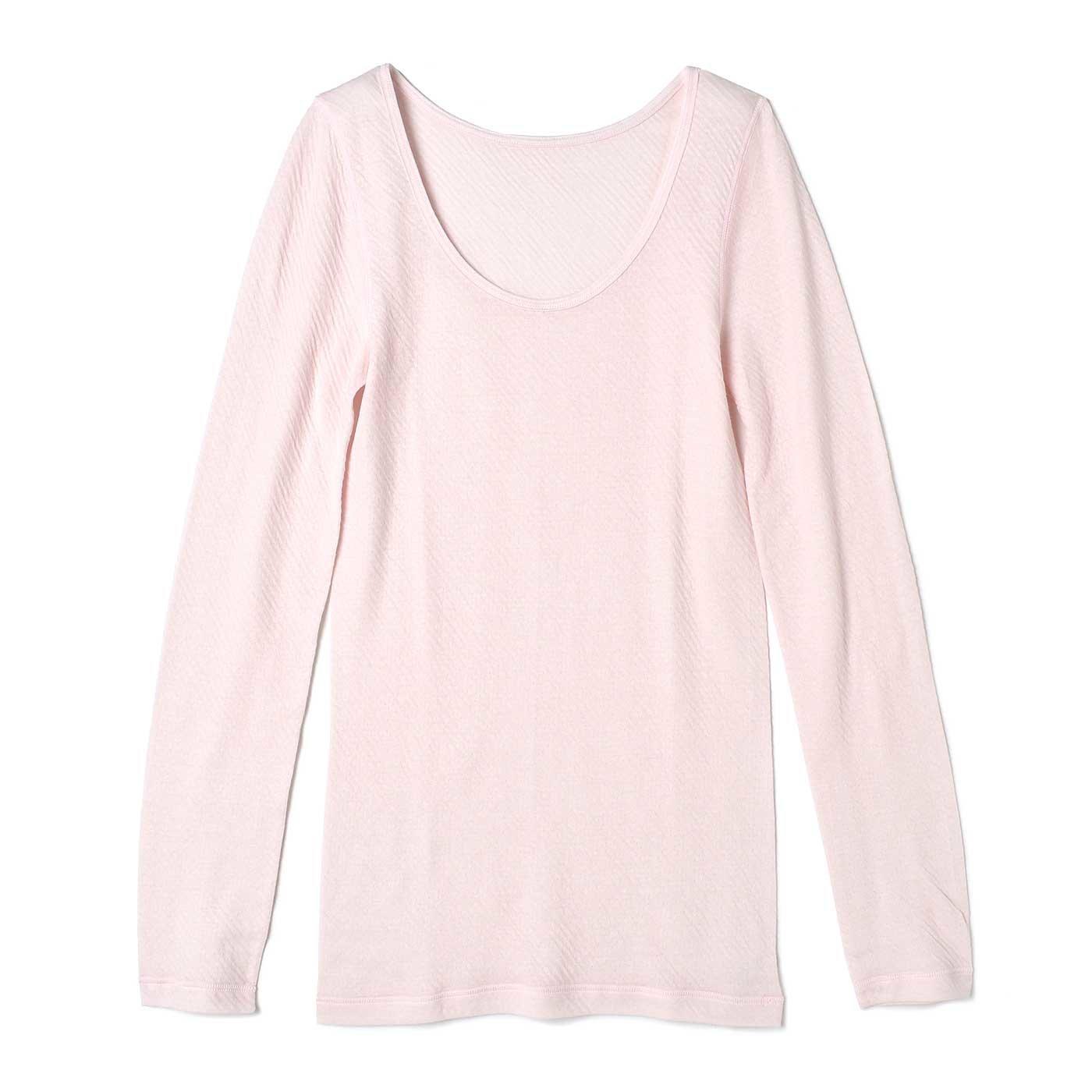 とことんやさしい肌当たり! ガーゼライクな綿100%ふわふわインナー〈長袖〉〈ピンク〉