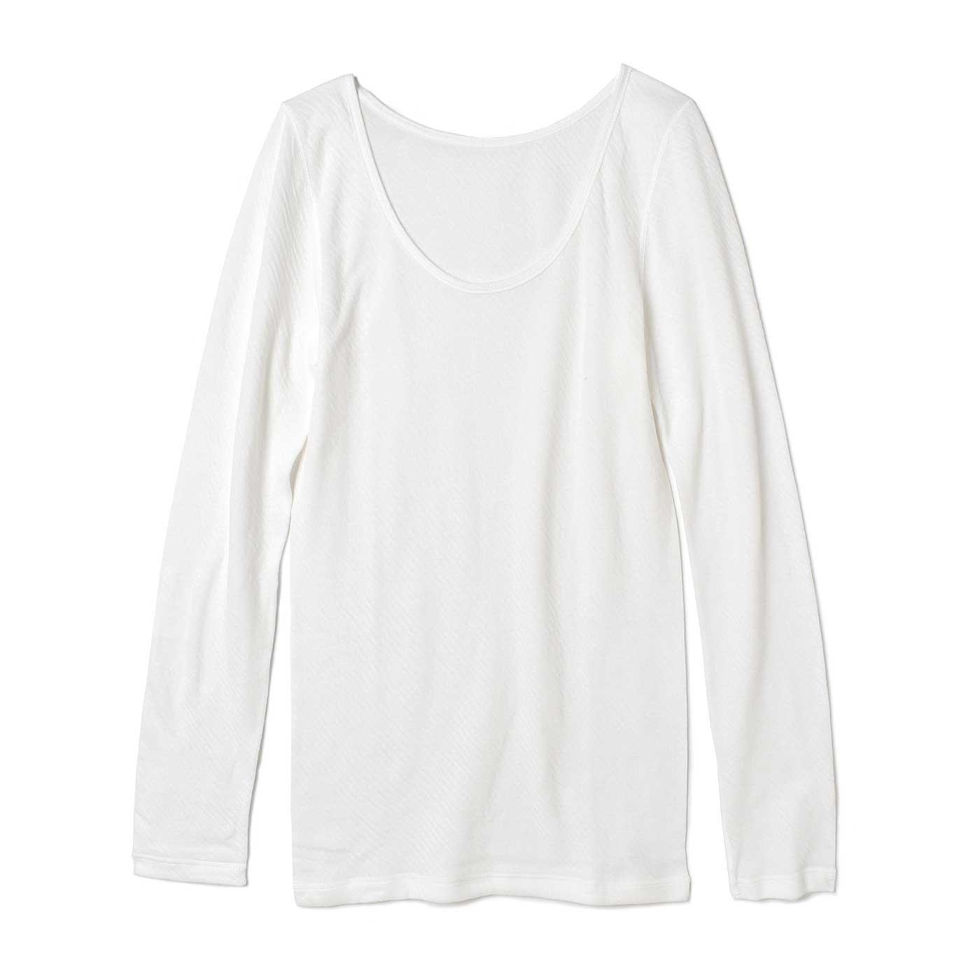 とことんやさしい肌当たり! ガーゼライクな綿100%ふわふわインナー〈長袖〉〈ホワイト〉
